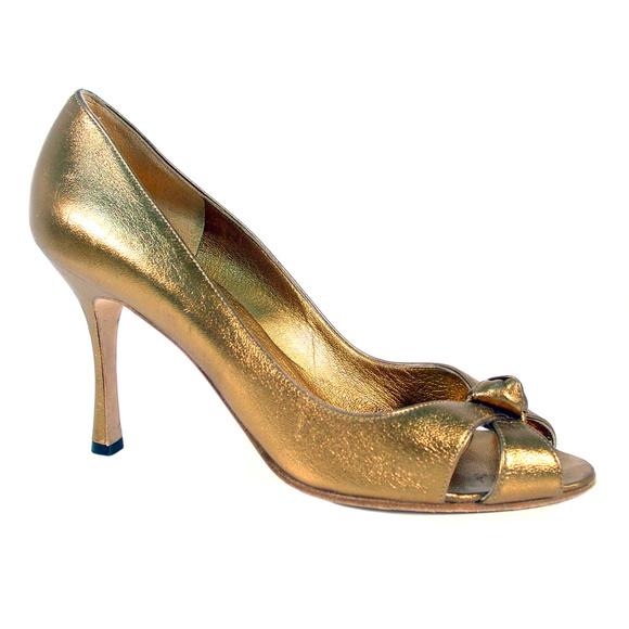 eb5496b17a Manolo Blahnik Shoes   Gold Peep Toe High Heel Pumps   Poshmark
